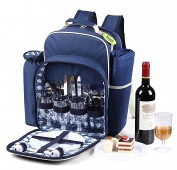 Smak Picknick Rucksack: Picknicktasche | 4 Personen | Kühltasche | isoliert | Kühlfach | mit Decke |  abnehmbarer Weinbeutel