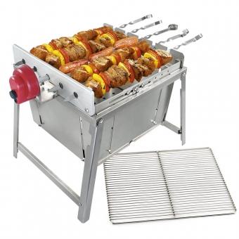 Rambo Grill TOGO SET: tragbarer und kompakter Grill TOGO | Mini Rambo | mit Quadratischem Edelstahlgrill | Edelstahl | Grill mobil | Spießdreher | Schaschlik | Campinggrill | Grillmotor | Powerbank | Schaschlikgrill