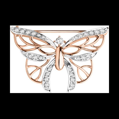 Brosche Schmetterling aus Rotgold 585 mit Zirkonia | Kaufbei Schmuck