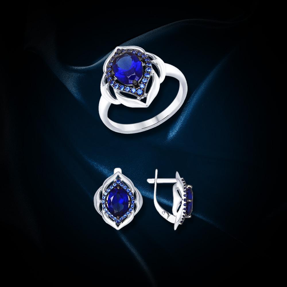 SET: Damenring aus 925 Silber mit Zirkonia und Saphir & Ohrringe aus 925 Silber mit Zirkonia und Saphir