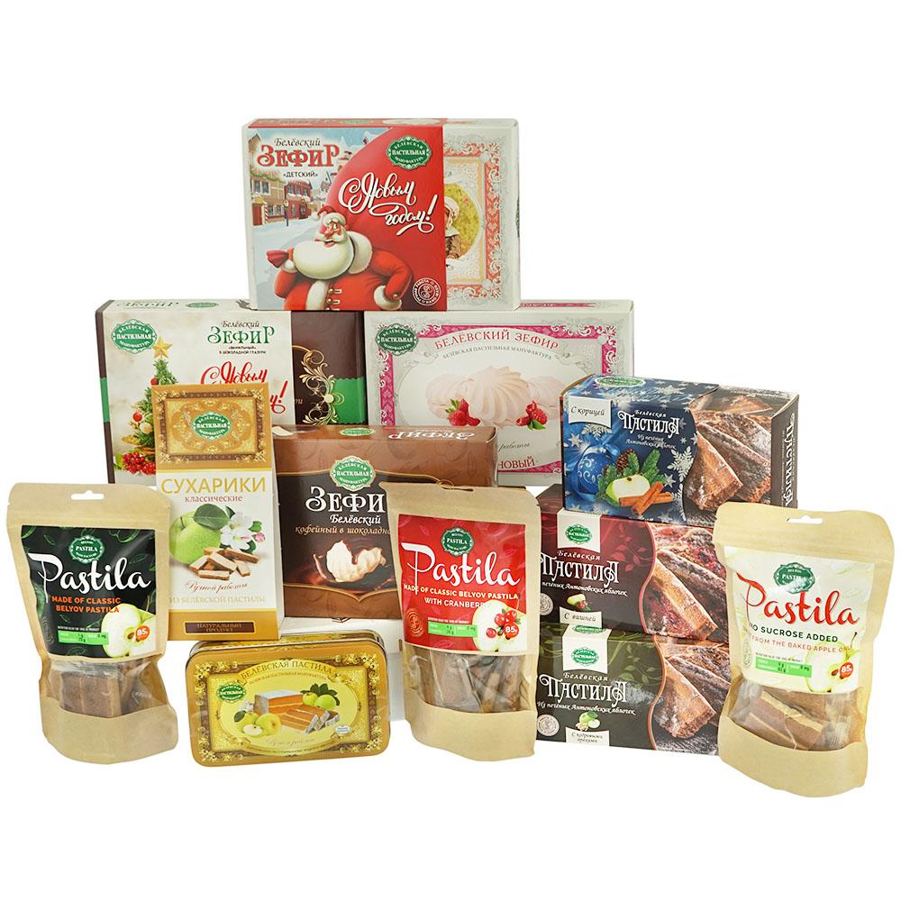 Geschenk-SET 12-Teilig Belyov verschiedene Sorten: 3 x Pastila á 200g | 1 x Pastila (Metalldose) 200g | 4 x Sefir á 250g |1 x Crackers Apfel Geschmack á 50g | 3 x Pastila in Stücken á 85g