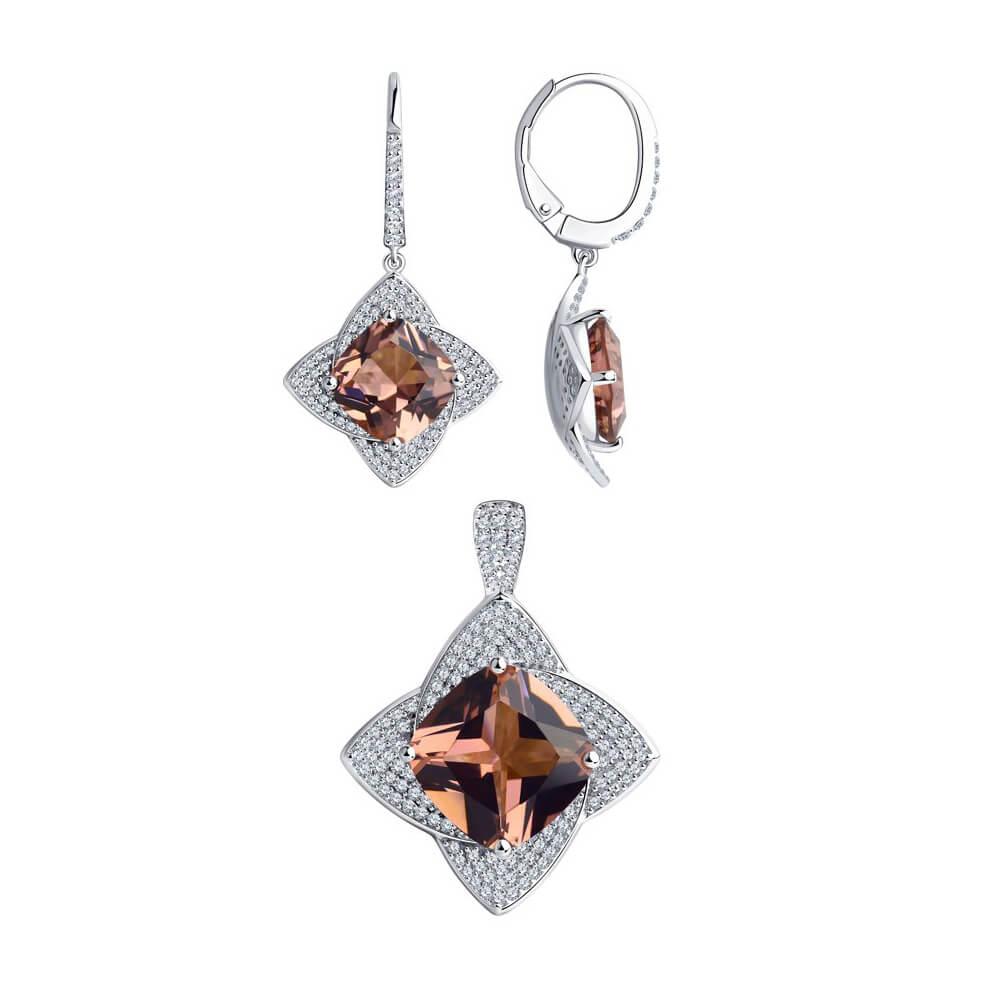 SET Ohrringe + Anhänger aus 925 Silber mit Zirkonia und braun Sitall | Kaufbei Schmuck