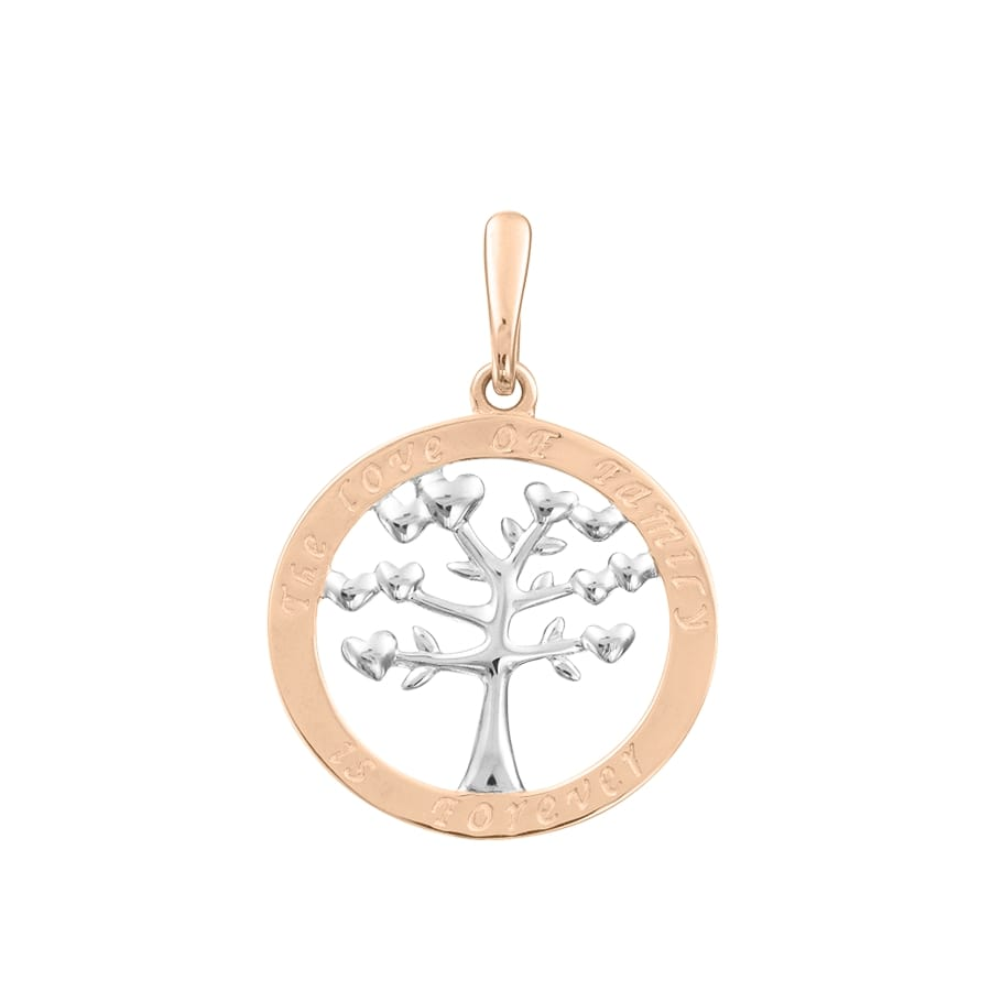 "Anhänger mit Zirkonia Roségold 585er ""the Love of Family is Forever"" 
