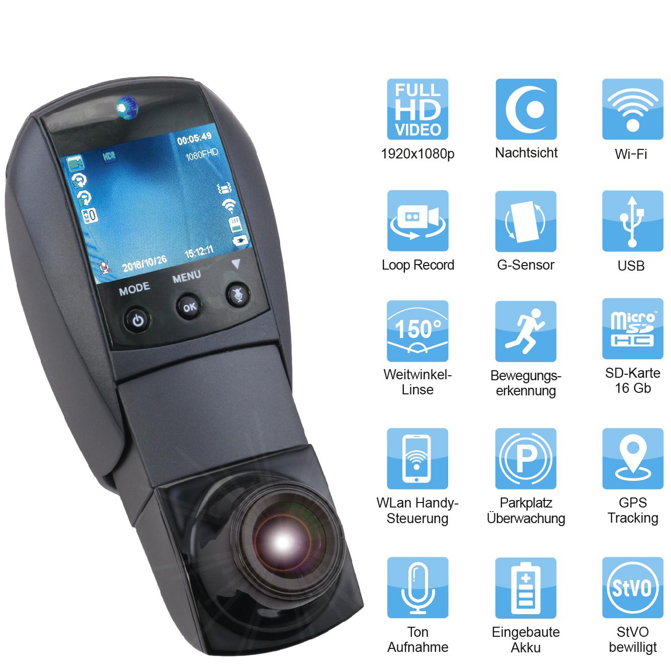 SMAK: Auto Sicherheit Dashcam | Überwachungskamera Videokamera | Mit Frontkamera Rückfahrkamera | Bewegungserkennung Bewegungsmelder Aufzeichnung | Befestigungen mit Halterung | Für alle Smartphones