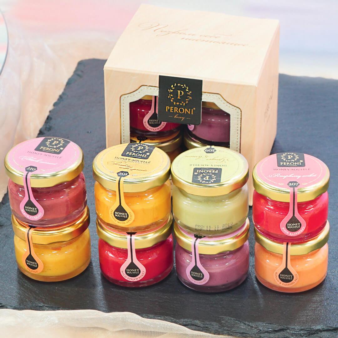 PERONI Honey Set: Fruchtig und Süß8 Sorten á 30g | Cremehonig | Honigsoufflé | Soufflé | Honig | Honey | Edel | Feinkost