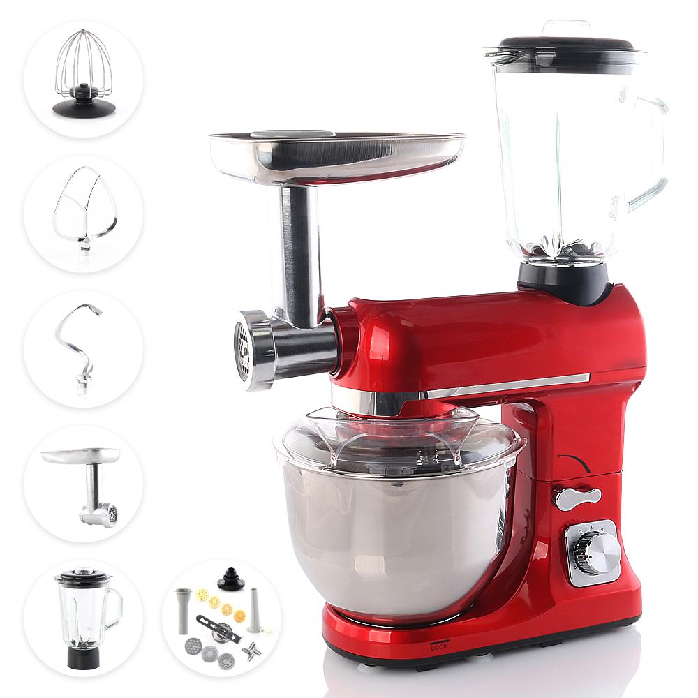 SMAK Küchenmaschine: 4 in 1 | 5 Liter | mit Zubehör | Teigknetmaschine | Zerkleinerer | Fleischwolf | Universal Multifunktions Kuechenmaschine | Standmixer | Edelstahl | Rührgerät | Professional für die Küche | ROT