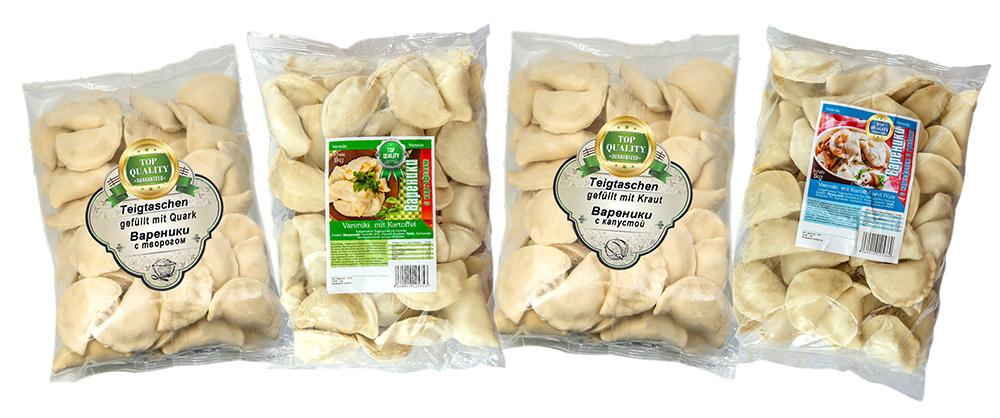 Vareniki SET: 4kg   Teigtaschen mit Füllung   Quark   Kartoffeln   Pilze und Kartoffeln   Sauerkraut   Wareniki   Tiefgefroren